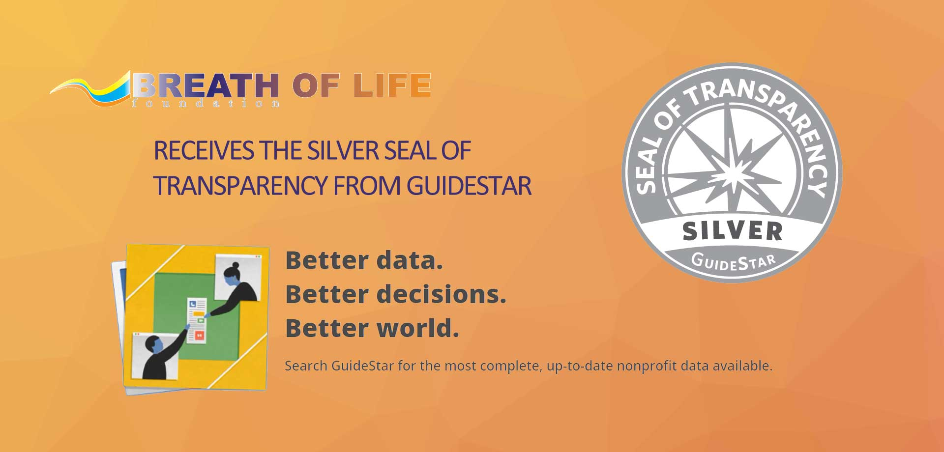 GuideStar Silver Seal of Transparency awarded to Breath of Life Foundation